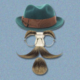 Vintage silhouette of bowler, mustaches and Royalty Free Stock Images