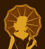 Vintage silhouette of girl. Royalty Free Stock Image
