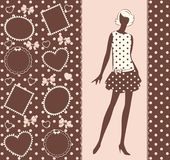 Vintage silhouette of girl . Royalty Free Stock Image