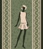 Vintage silhouette of girl Stock Images