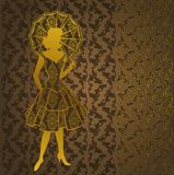 Vintage silhouette of girl Stock Photo