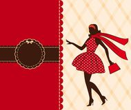 Vintage silhouette of girl . Stock Photography