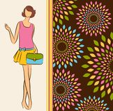 Vintage silhouette of girl with bag. Royalty Free Stock Images