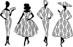 Vintage silhouette of girls Royalty Free Stock Photography