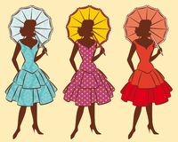 Vintage silhouette of girls Stock Images