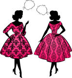 Vintage silhouette of girls. Stock Photo