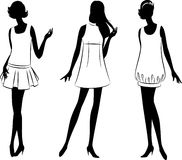 Vintage silhouette of girls . Stock Photo