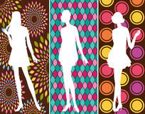 Vintage silhouette of girls . Stock Photos