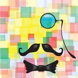 Vintage silhouette of monocle, mustaches and a bow tie Stock Photos
