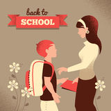 Vintage silhouette of teacher and student. Back to Royalty Free Stock Photos