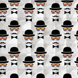 Vintage silhouette top hat and mustache background Royalty Free Stock Images