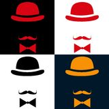 Vintage silhouette top hat and mustache Stock Images