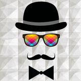 Vintage silhouette of top hat and mustaches royalty free stock photography