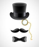 Vintage silhouette of top hat, mustaches, monocle Stock Images