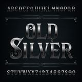 Vintage silver alphabet font. Old metal effect letters and numbers. stock illustration