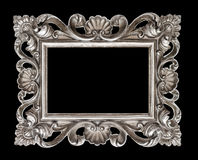 Vintage silver baroque style picture frame isolated over black Royalty Free Stock Photography