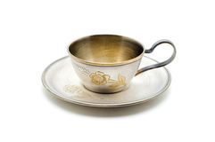 Vintage silver coffee cup. Royalty Free Stock Photo