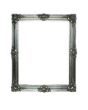 Vintage silver frame with two clipping paths. Wooden grunge frame with clipping paths for the inside and one for the outside Royalty Free Stock Image