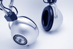 Vintage Silver Headphones Stock Photos