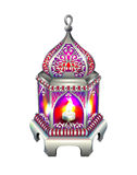 Vintage silver lantern with a red glow Stock Photography