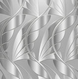 Vintage Silver Leaf Background. A beautiful, elegant Art-Deco pattern of leaves done in metallic silver fashioned after architectural ornamentation from the 1930 Stock Image