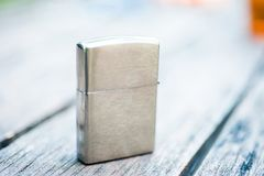 Vintage silver lighter Stock Image