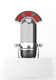 Vintage silver microphone with Blank Paper. On a white background royalty free stock images