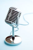 Vintage silver microphone. The classic vintage silver microphone royalty free stock photo