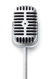 Vintage silver microphone. The classic vintage silver microphone royalty free stock photography