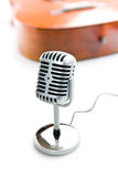 Vintage silver microphone. The classic vintage silver microphone royalty free stock images