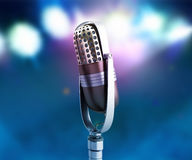 Vintage silver microphone close up karaoke background 3d render Royalty Free Stock Photography