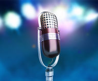 Vintage silver microphone close up karaoke background 3d render Stock Photo
