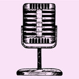 Vintage silver microphone Royalty Free Stock Photos