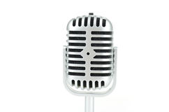 Vintage silver microphone on white background Royalty Free Stock Image