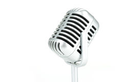 Vintage silver microphone on white background Royalty Free Stock Photography