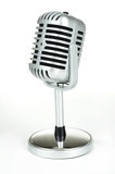 Vintage silver microphone on white. Background royalty free stock photography