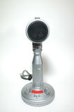 Vintage silver microphone. On white background stock image