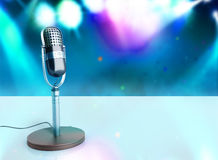 Vintage silver microphone wood karaoke background 3d illustratio Stock Image