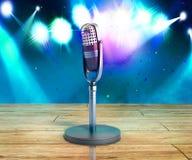 Vintage silver microphone wood karaoke background 3d illustratio Stock Photo