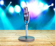 Vintage silver microphone wood karaoke background on wood 3d render Stock Image