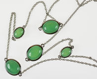 Vintage silver necklace with jade Stock Photography