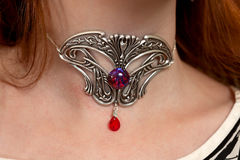 Vintage silver necklace red gemstone Stock Images