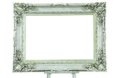 Vintage silver picture frame with metal easel Royalty Free Stock Image