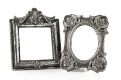 Vintage silver picture frames isolated Royalty Free Stock Images