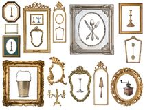 Vintage silver rectangular frames with an ornament isolated on white. Retro style royalty free illustration