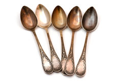 Vintage silver spoon Stock Photos