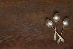 Vintage silver spoons with patina Stock Images