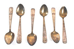 Vintage silver tea spoons Royalty Free Stock Photos