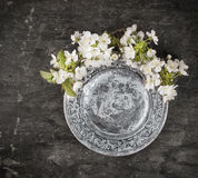 Vintage silver tray with wild cherry flowers , top view Royalty Free Stock Image