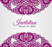 Vintage silver wedding invitation cover with lace Stock Photography